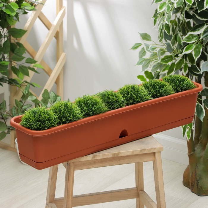 Балконный ящик 80 см с поддоном, цвет терракотовый