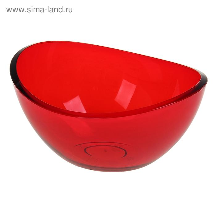 """Салатник 0,7 л """"Кристалл"""" прозрачный, цвет красный"""