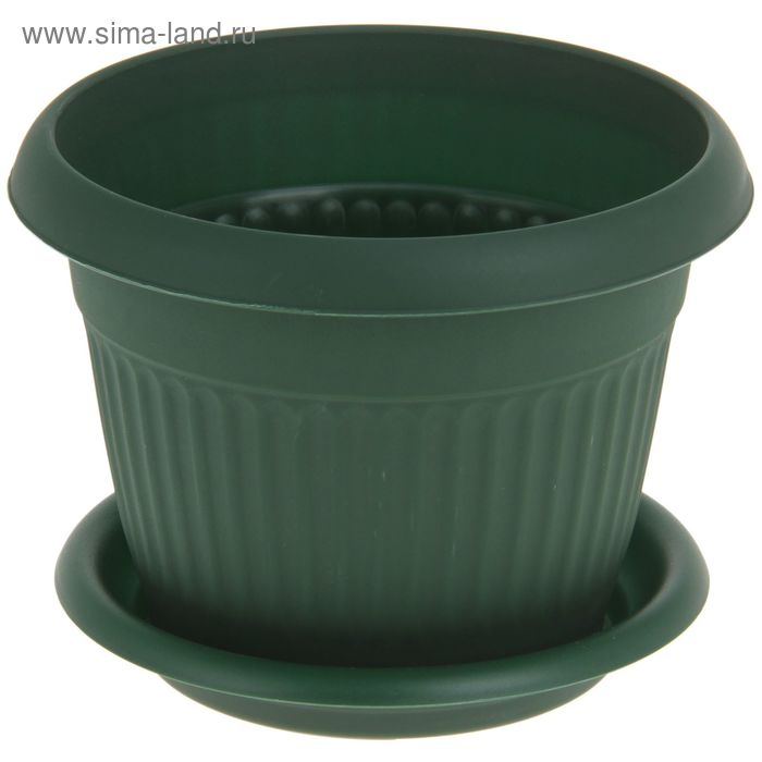 """Кашпо 1,4 л """"Ливия"""" d=16 см, цвет зеленый"""