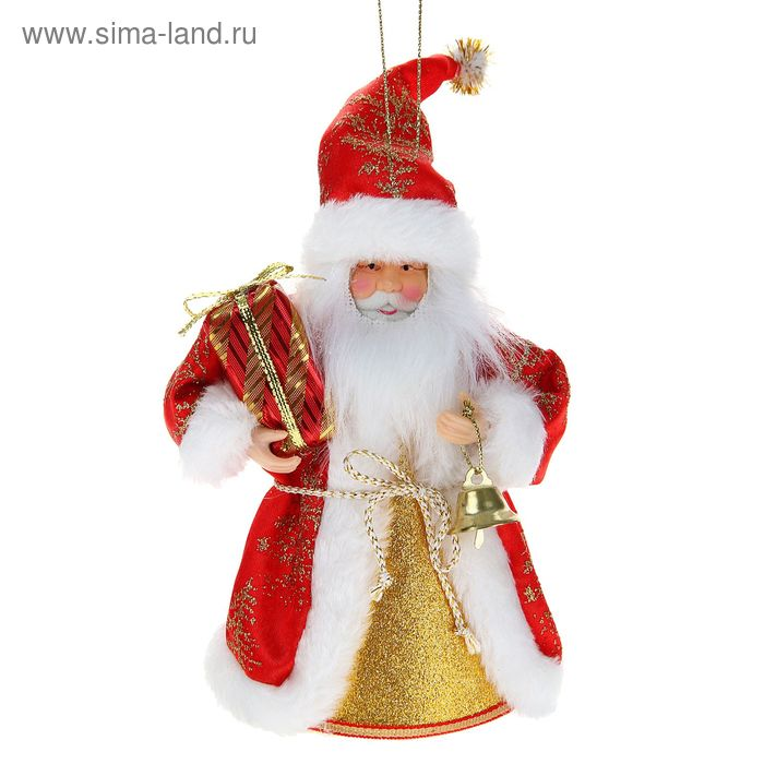 Дед Мороз мини в длинной шубе с колокольчиком