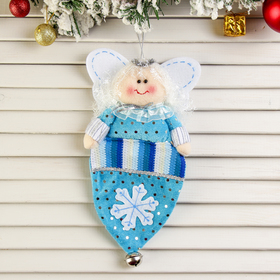 """Мягкая подвеска """"Колпак для подарков - ангелочек"""" 26*14 см бирюза"""
