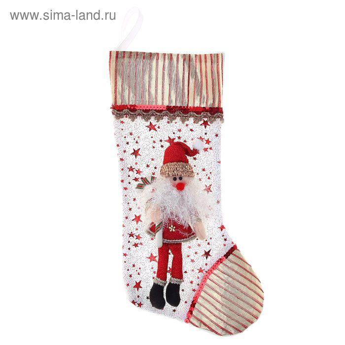 "Носок для подарка ""Дед Мороз с леденцом"""