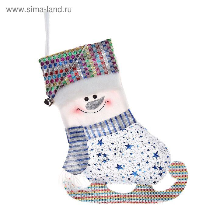 """Носок для подарка """"Конёк-снеговик"""" (звездопад)"""