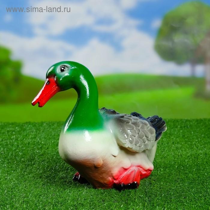 """Садовая фигура """"Утка"""" голубая шея, белая грудка"""