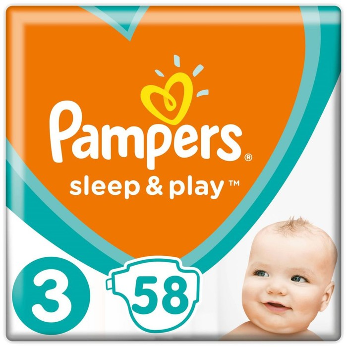 Подгузники «Pampers» Sleep&Play, Midi, 5-9 кг, 58 шт/уп