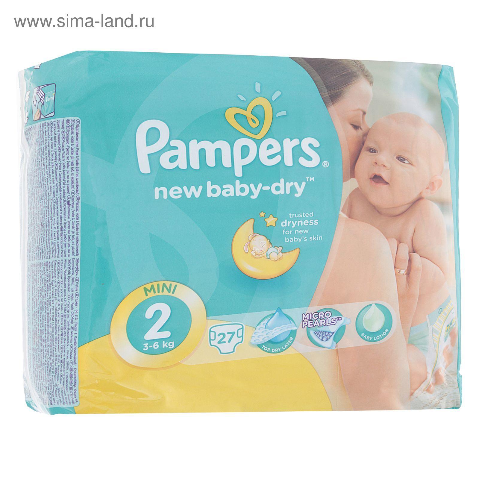Подгузники «Pampers» New Baby-dry, Mini, 3-6 кг, 27 шт уп (1156448 ... 3f2262aa491