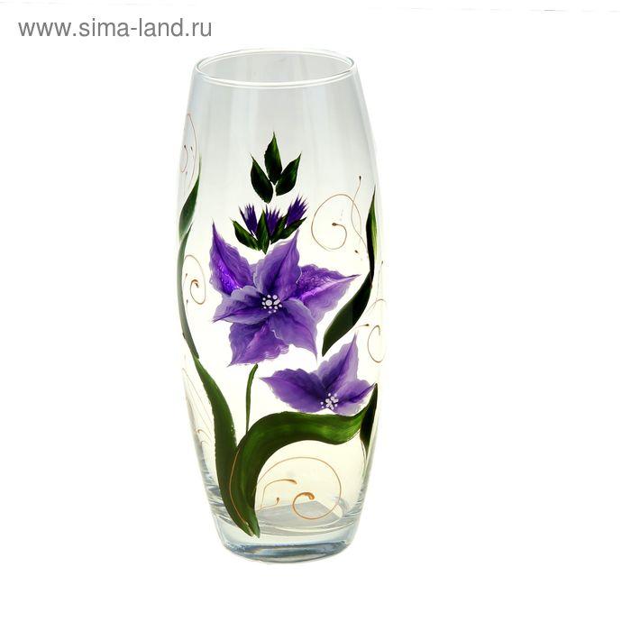"""Ваза """"Гладиолус"""" овальная, фиолетовые цветы"""
