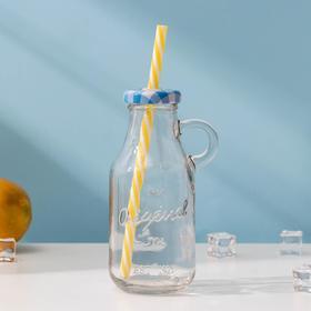 Бутыль 200 мл с ручкой и крышкой под трубочку, цвет МИКС