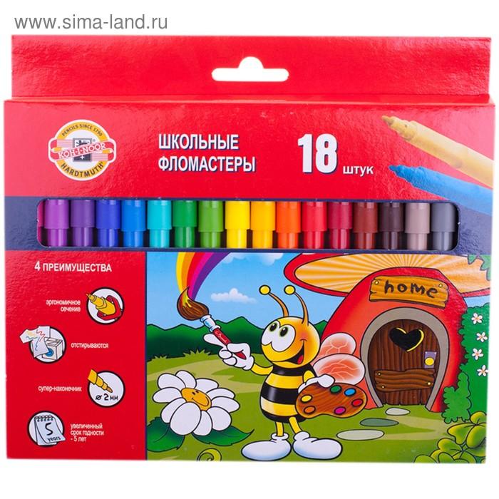 """Фломастеры трехгранные 18 цветов """"Пчелка"""" европодвес"""