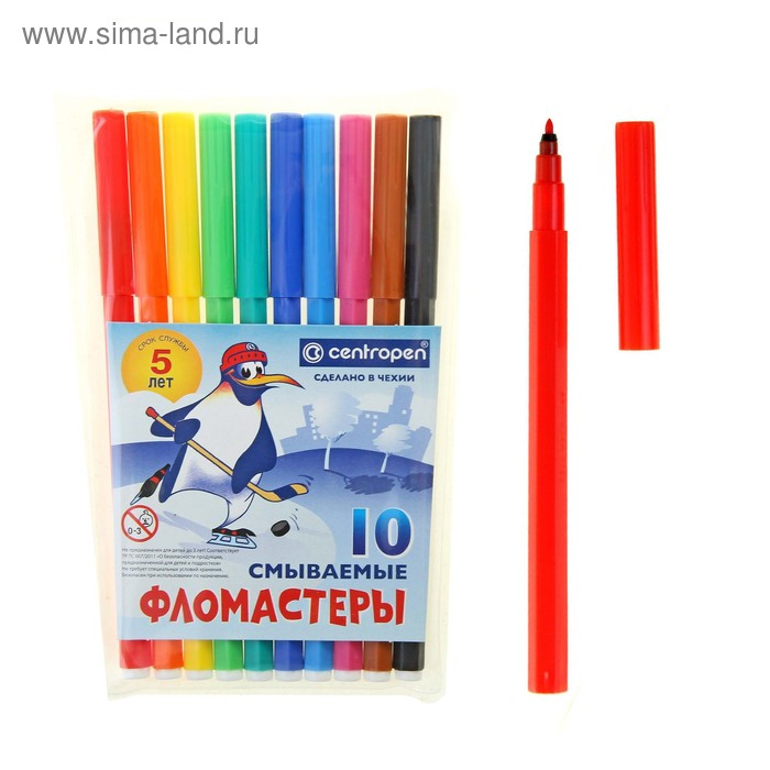 """Фломастеры 10 цветов """"Пингвины"""" смываемые"""