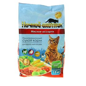"""Сухой корм """"Ночной охотник"""" для кошек, мясное ассорти, 1,5 кг"""