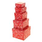 """Набор коробок 5в1 """"Сердечки на красном"""", 12 х 12 х 9 - 6 х 6 х 3 см"""