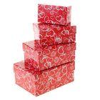 """Набор коробок 4в1 """"Сердечки на красном"""", 15 х 11 х 7 - 9 х 5 х 4 см"""