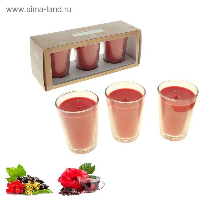 Набор свечей ECO LUMIERE Красный чай-смородина, 3х80 мл