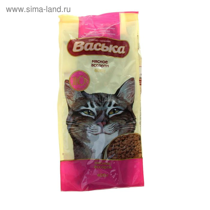 "Сухой корм для кошек ""Васька"" профилактика МКБ, мясное ассорти, 400 г"