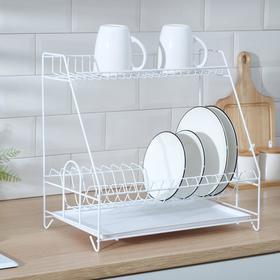 Сушилка для посуды с поддоном 2-х ярусная, 24×40×38 см, цвет белый