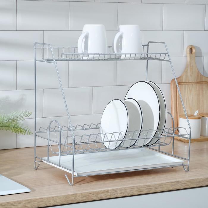 Сушилка для посуды с поддоном 2-х ярусная, 24×40×38 см, хром - фото 182189