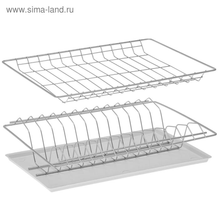 Комплект посудосушителей 36,5х25,6 см с поддоном, для шкафа 40 см, цвет хром