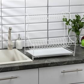Сушилка для посуды с поддоном 2-х ярусная, настольно-настенная, 39,5×25×38 см, цвет белый