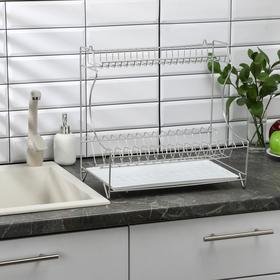Сушилка для посуды с поддоном 2-х ярусная, настольно-настенная, 39,5×25×38 см, цвет хром