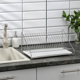 Сушилка для посуды с поддоном, 39×25×15 см, хром
