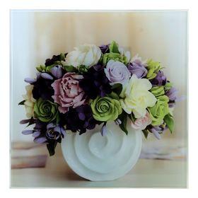 Картина на стекле 'Цветы в белой вазе'  30х30см Ош
