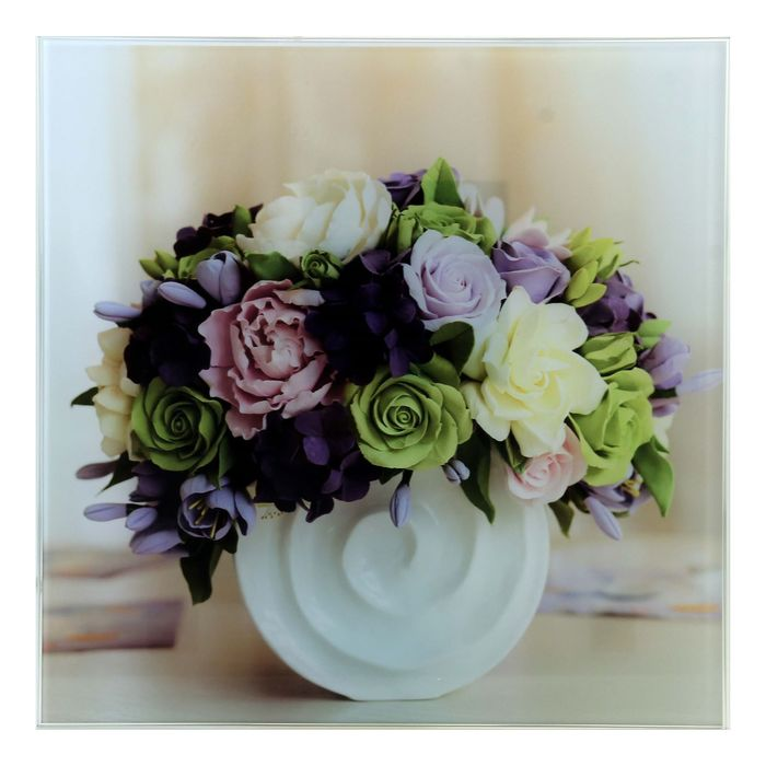 """Картина на стекле """"Цветы в белой вазе"""""""