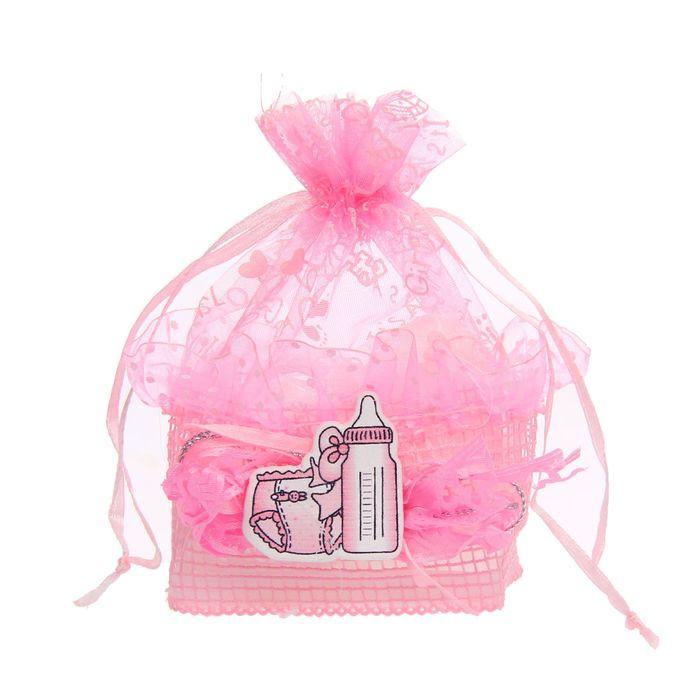 """Бонбоньерка """"Бутылочка и подгузник"""", цвет розовый"""
