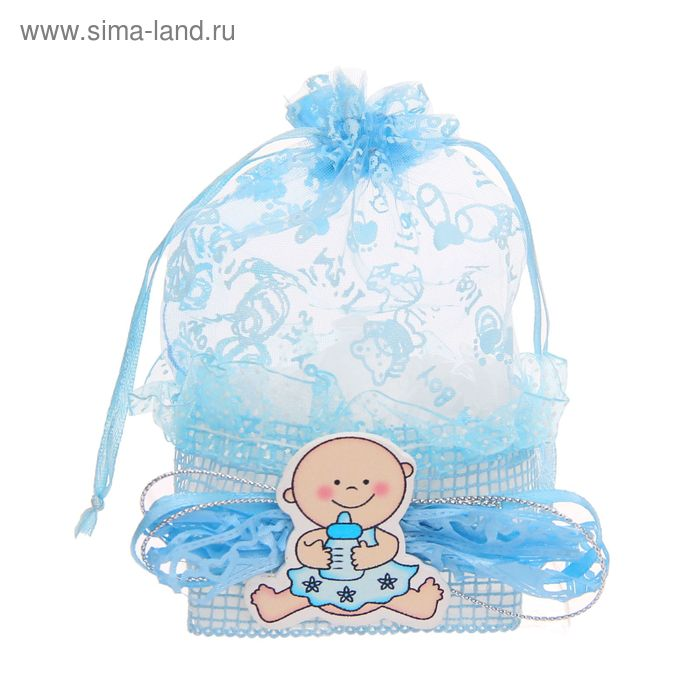 "Бонбоньерка ""Лялька с бутылочкой"", цвет голубой"