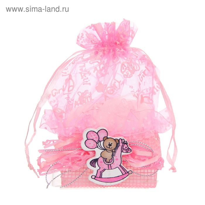 """Бонбоньерка """"Мишка с шарами на лошадке"""", цвет розовый"""