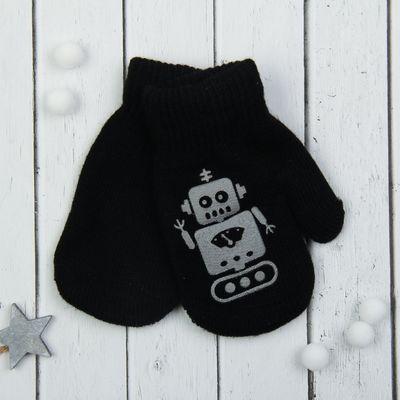 """Варежки детские """"Робот"""", размер 16 (р-р произв. 14*1*9), цвет чёрный 65402"""