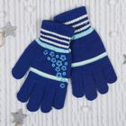 """Перчатки молодёжные """"Цветики"""", размер 22, цвет синий 65582"""