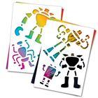 """3 гравюры и 2 трафарета """"Роботы"""" с цветным основанием"""
