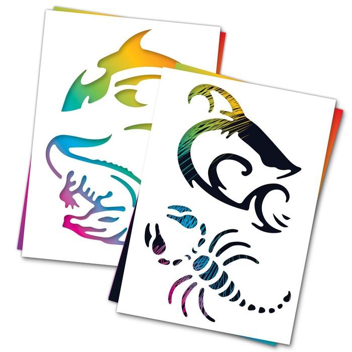 """3 гравюры и 2 трафарета """"Хищники"""" с цветным основанием"""