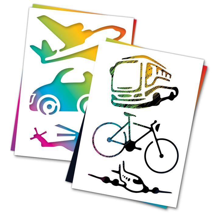 """3 гравюры и 2 трафарета """"Транспорт"""" с цветным основанием"""