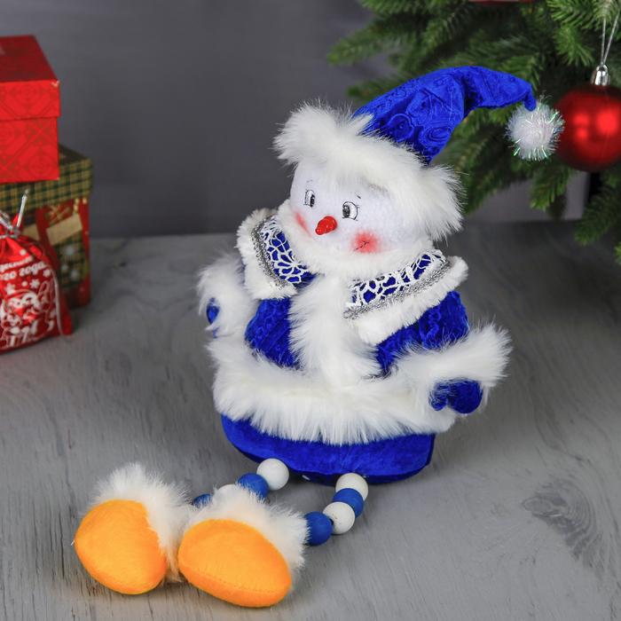 """Мягкая игрушка """"Снеговик в синем наряде"""" (ножки-бусинки)"""