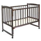 Детская кроватка «Колибри» на колёсах или качалке, цвет венге