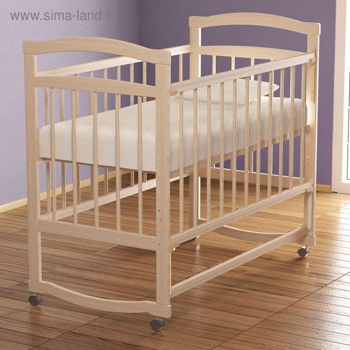 Детская кроватка «Колибри Эко-4» на колёсах или качалке, цвет берёза