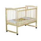 Детская кроватка «Колибри» на колёсах или качалке, цвет берёза