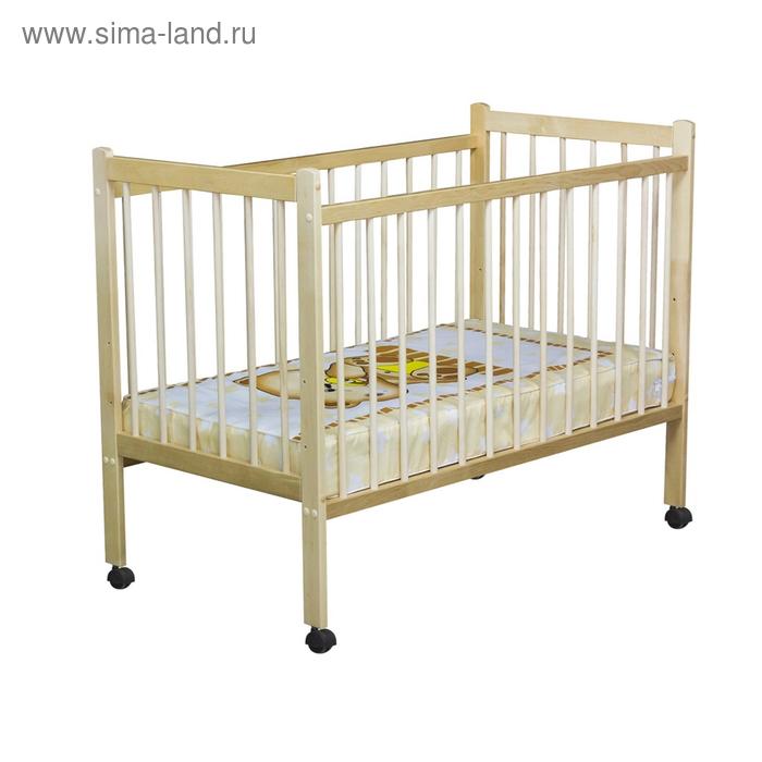 Детская кроватка «Колибри» на колёсах, цвет берёза