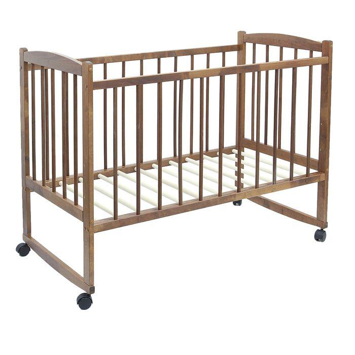 Детская кроватка «Колибри» на колёсах или качалке, цвет орех