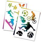 """3 гравюры и 2 трафарета """"Спорт"""" с цветным основанием"""