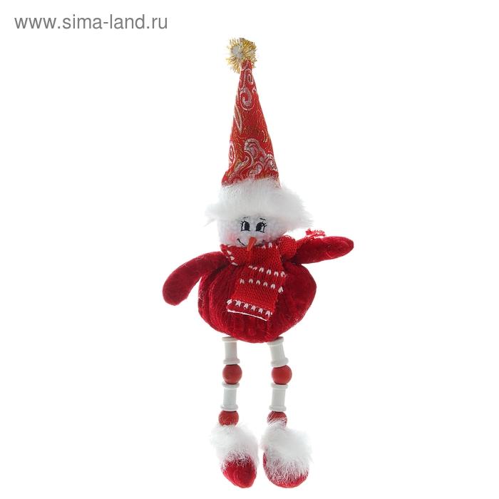 """Мягкая игрушка """"Снеговик"""" красные и белые бусины"""