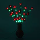 Светодиодная ваза плетенная 60х16, 36 LED, цветы КРАСНЫЕ (ваза - цвета микс)