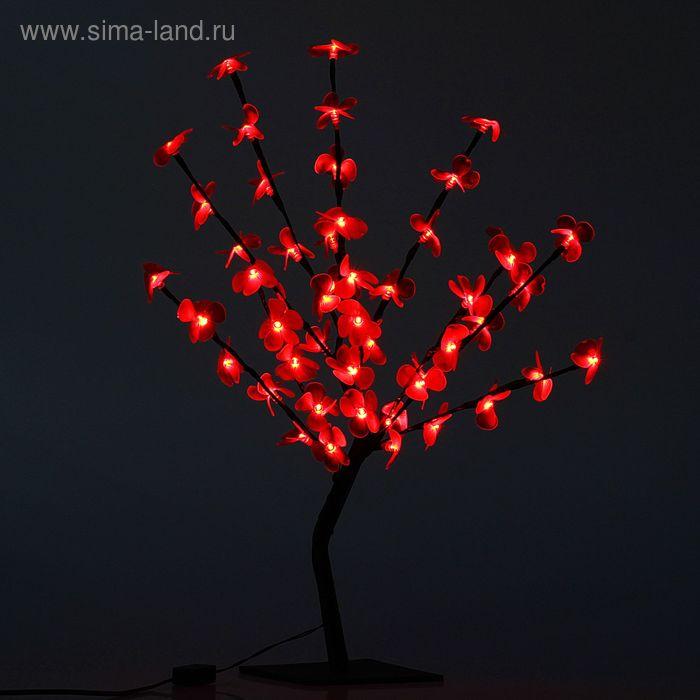 "Светодиодный куст улич. 0,65 м, ""Цветок сакуры"", 50 LED, 220V, фиксинг КРАСНЫЙ"