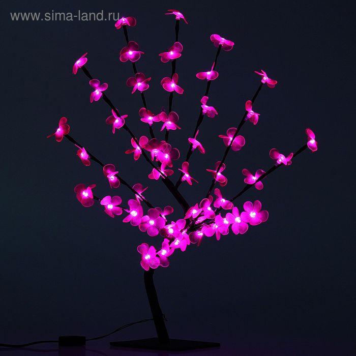 "Светодиодный куст улич. 0,65 м, ""Цветок сакуры"", 50 LED, 220V, фиксинг РОЗОВЫЙ"