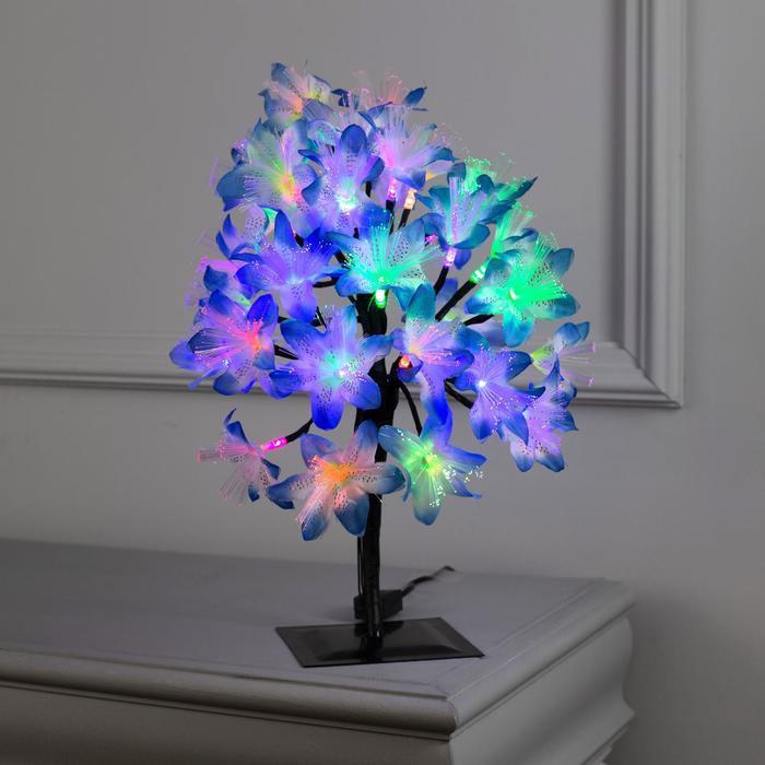 """Светодиодный куст улич. 0,3 м, """"Лилия синяя"""", 32 LED, 220V, моргает RG/RB"""