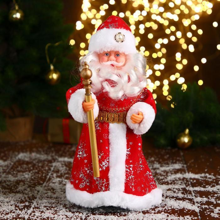 Дед Мороз, в красной шубе и шапке с жемчужинкой, русская мелодия