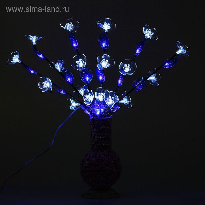 Светодиодная ваза плетенная 60х16, 36 LED, цветы БЕЛЫЕ (ваза - цвет микс)