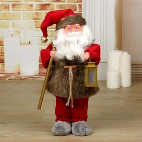 """Дед Мороз """"Телогрейка, с фонарём"""" с подсветкой, двигается, 38 см"""